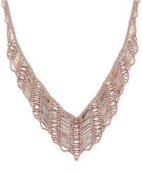 beaded collar necklace jewelry images Macy 39 s v shape beaded collar necklace in 14k rose gold necklaces tif