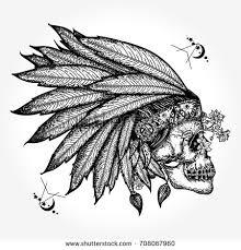 indian skull warrior symbol stock vector 708067960