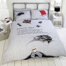 duvet day cosy cat chocolate quilt duvet cover bedding set single