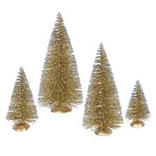 set of 4 whimsical gold glitter artificial mini