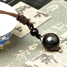 natural stone necklace pendant images Black obsidian rainbow eye beads ball natural stone necklace jpg