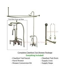 satin nickel clawfoot tub shower kit with faucet and hoop shower