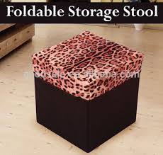 new design new cow print foldable storage stool pouffe box faux