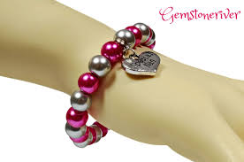 pearl bracelet with silver charm images Cerise hot pink fuchsia silver grey pearl bracelet wedding jpg