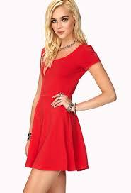 forever 21 short sleeve skater dress in red lyst