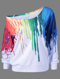 only 9 39 for paint drip design skew collar sweatshirt in white