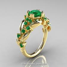 engagement rings with leaves nature inspired 14k yellow gold 1 0 ct emerald leaf and vine
