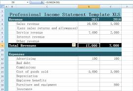 professional income statement template excel xls u2013 excel xls