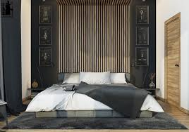 Masculine Bedroom Ideas Gray Walls Masculine Bedroom Gray Covered Shelves Wall Divider Long White