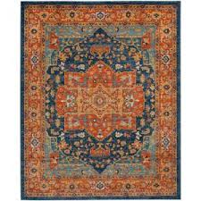 safavieh evoke blue orange 8 ft x 10 ft area rug evk275c 8 the