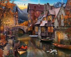 halloween jigsaw puzzles amazon com autumn canal jigsaw puzzle 1000 piece toys u0026 games