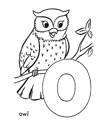 abc primary coloring activity sheet letter o is for owl