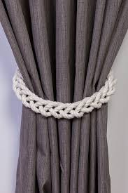 Rope Tiebacks For Curtains Chunky White Cotton Rope Braided Curtain Tie Backs Nautical