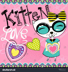 cute abstract illustration hearts ornament cat stock vector