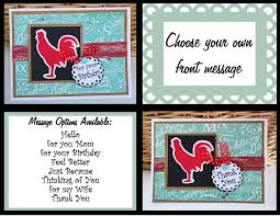 custom rooster card rooster kitchen thank you handmade card