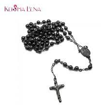 mens rosary keisha lena men s rosary necklace black color jesus cross necklace
