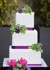 Wedding Cake Green Wedding Cake With Pink Purple And Green Details