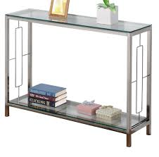 Silver Console Table Skinny Glass And Glossy Silver Metal Console Table Plus Shelf Of