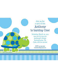 first birthday turtle personalized invitation each