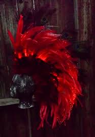 Fiber Optic Halloween Decorations by Led Feather Mohawk Headdress With Fiber Optic Lighting Red