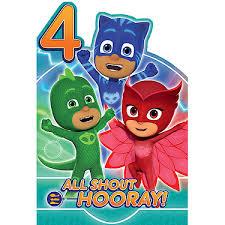 pj masks age 4 birthday card entertainer entertainer