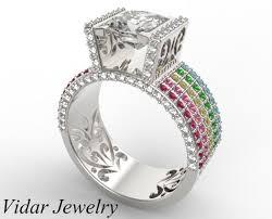 custom wedding ring fancy diamond engagement ring with multicolor gemstones vidar