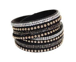 black leather crystal bracelet images Swarovski crystal leather bangle bracelet black velvet crystal wrap jpg