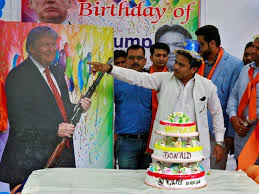 in pics hindu group celebrates donald trump u0027s birthday with cake