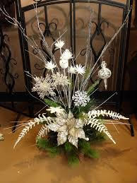 silver and champagne snowflake christmas centerpiece for christmas