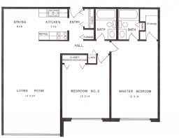 Two Bedroom Floor Plan by 2 Bedroom 2 Bath Apartment Floor Plans Comfortable 3 Apartment
