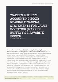 warren buffett accounting book reading financial statements for value u2026