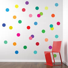this set of colorful dotty decals will give your walls that 36 confetti rainbow colors polka dots wall decals stickers repositionable peel and stick