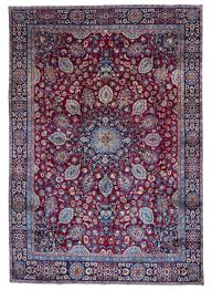 red blue and black semi antique persian mashad oriental rug 8