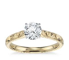 engagement ring gold diamond engraved solitaire engagement ring in 18k yellow gold