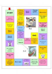 english worksheet board game present continuous games