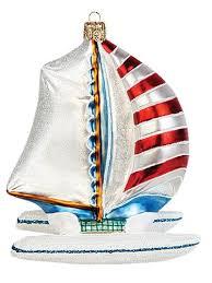 catamaran boat polish mouth blown glass christmas ornament