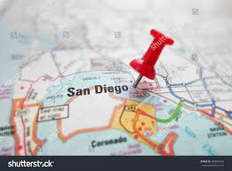Map Of San Diego by Closeup Map San Diego California Red Stock Photo 200304650