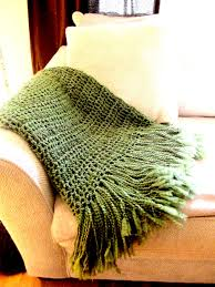 throw blanket crocheted with fringe olive green blanket afghan