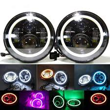 7 U0027 U0027 Led Headlight With Bluetooth Control Rgb Halo Drl H L For Jeep