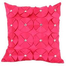hot pink colour 3d shiny diamante circled ruffle designer filled cushion fushia
