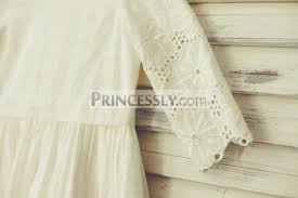 long sleeve ivory eyelet cotton lace flower dress