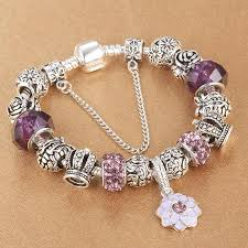 silver plated charm bracelet images Silver plated charm bracelet for women snake chain murano glass jpg