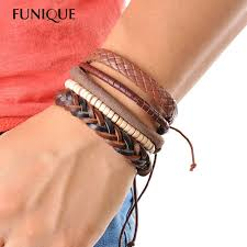 bracelet beads leather images 1set 3 4pcs leather bracelet men multilayer bead bracelet punk jpg