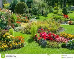garden design garden design with beautiful flower garden stock