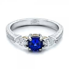 rings design custom blue sapphire and diamond engraved engagement ring