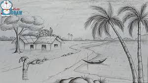 draw scenery rainy season pencil sketch step step