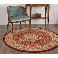 Round Red Rugs Amazon Com Universal Rugs Jayden Traditional Oriental Ivory Round