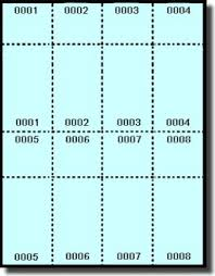400 printable raffle or event tickets with numbered stub
