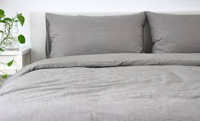 bedding medium grey linen duvet cover