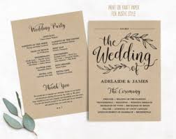 wedding programs diy wedding templates etsy nz